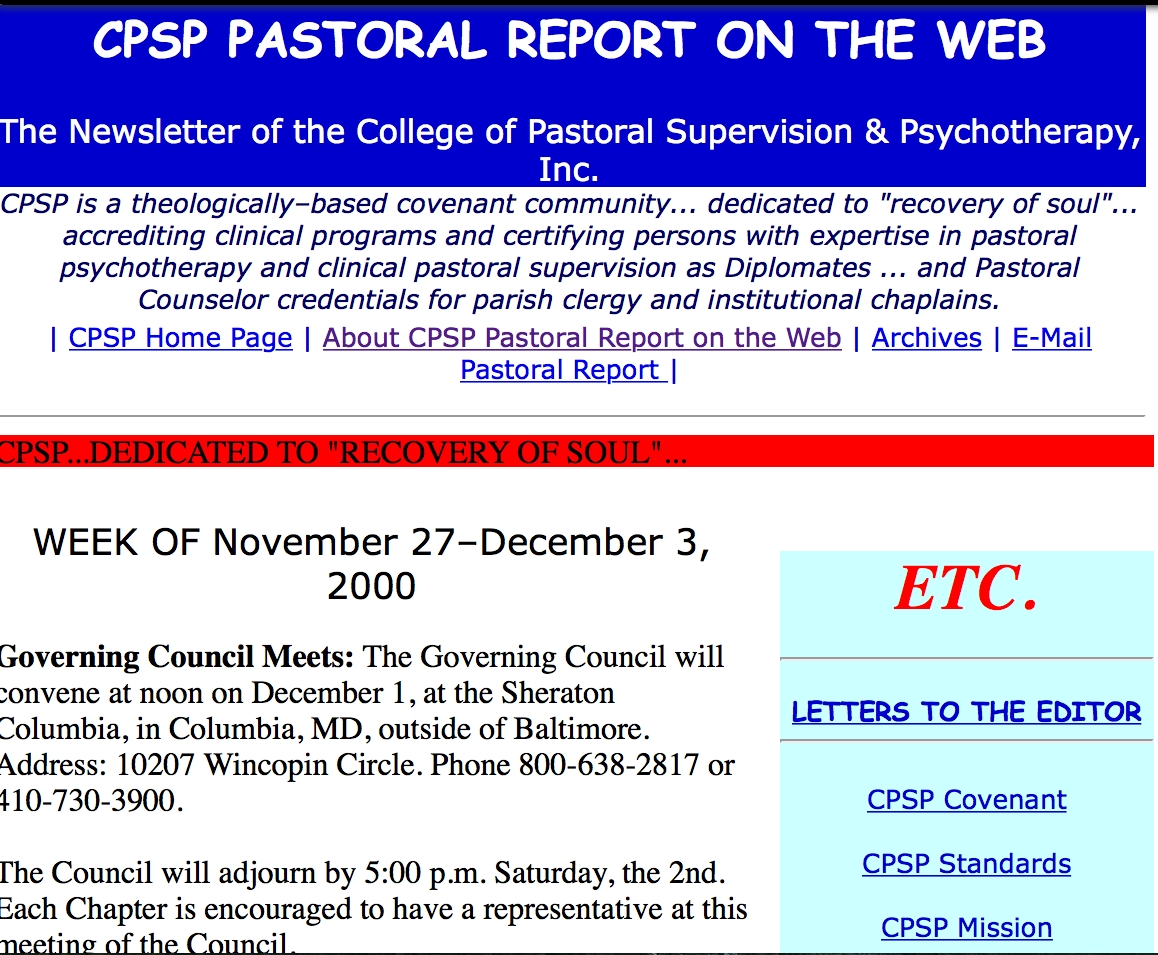 Early Pastoral Report (2002)